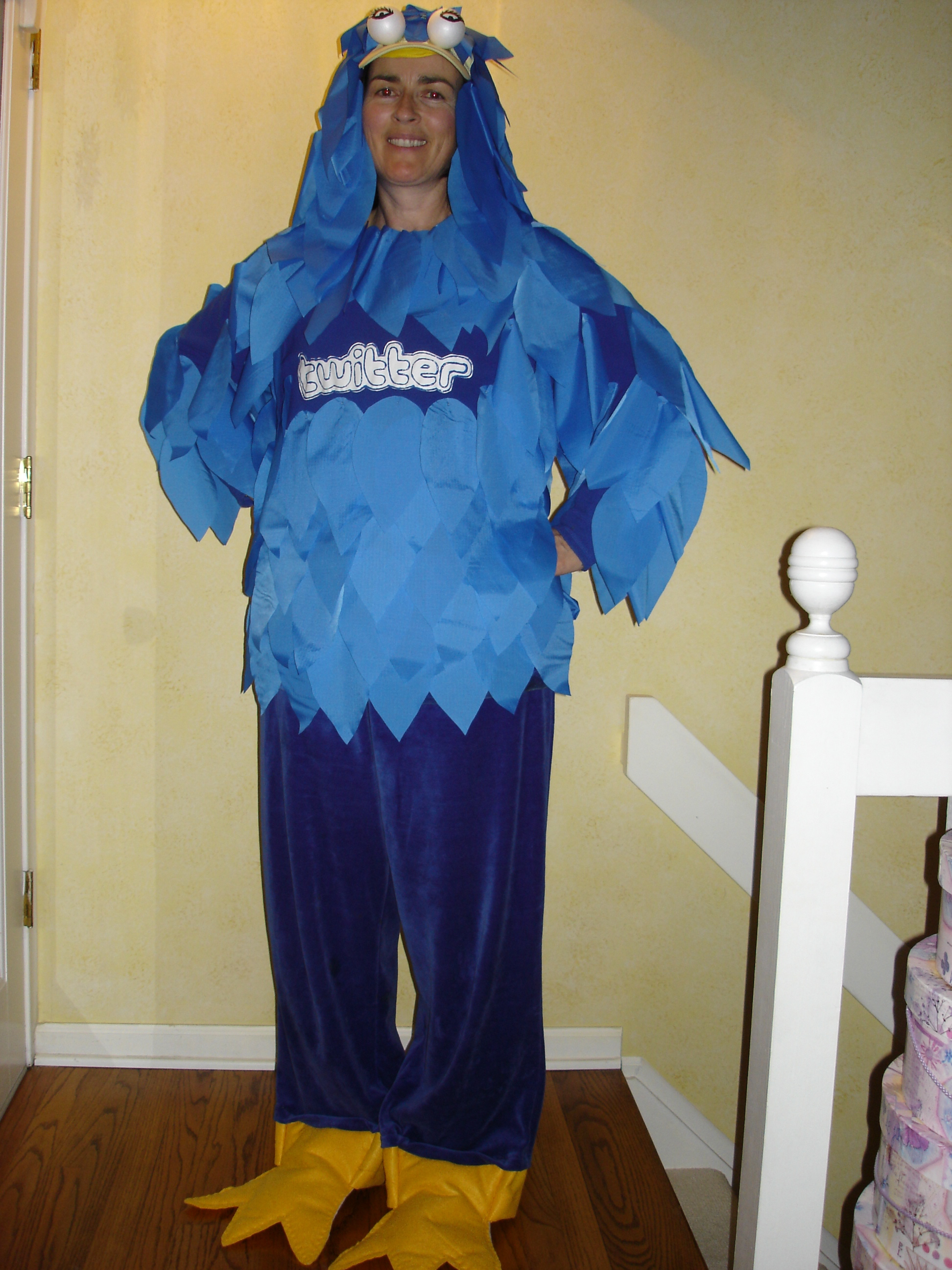 woman dressed up as the twitter bird