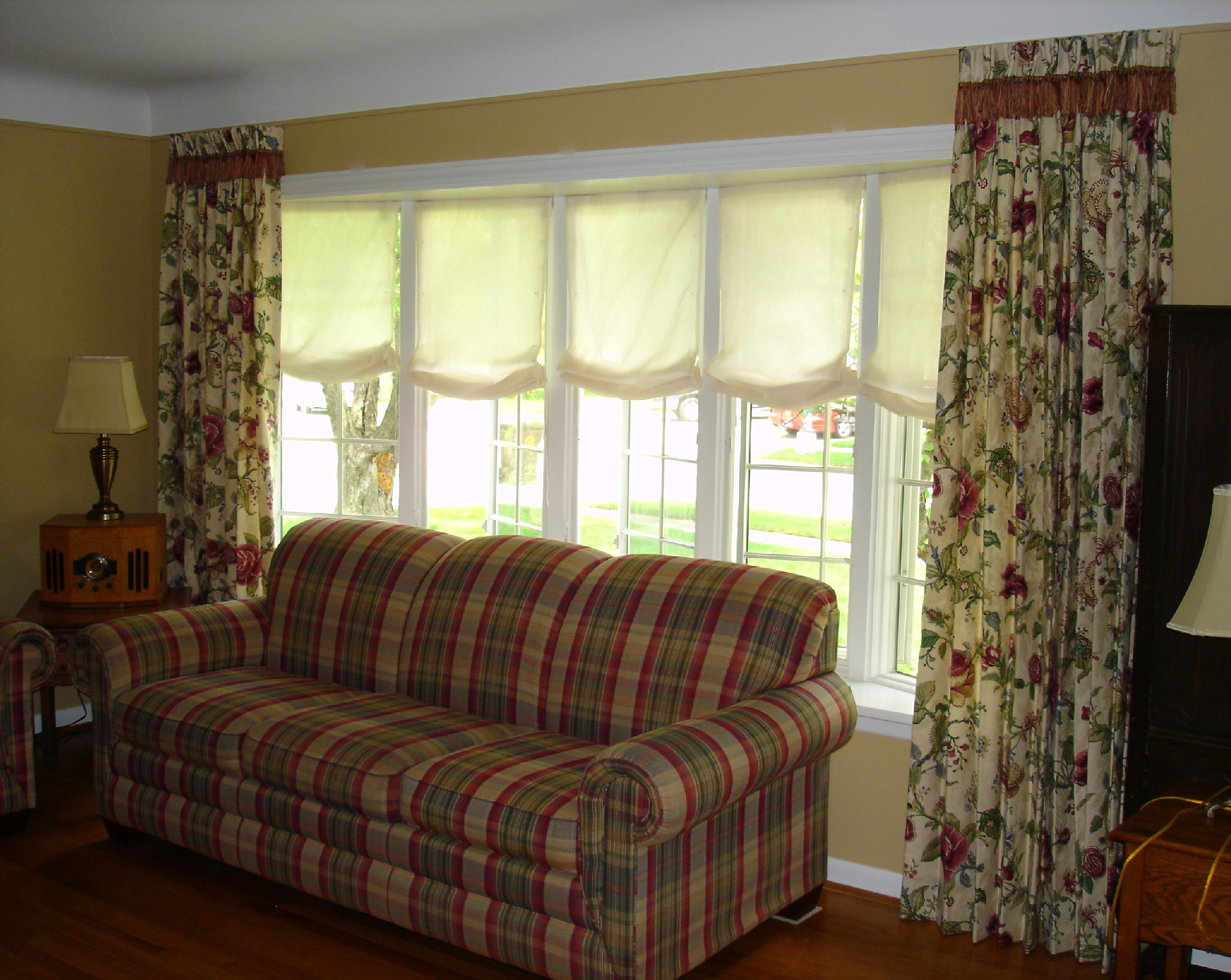 Pleated Drapery Panels With Roman Shades