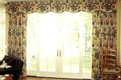 Box pleated valance with drapery panels