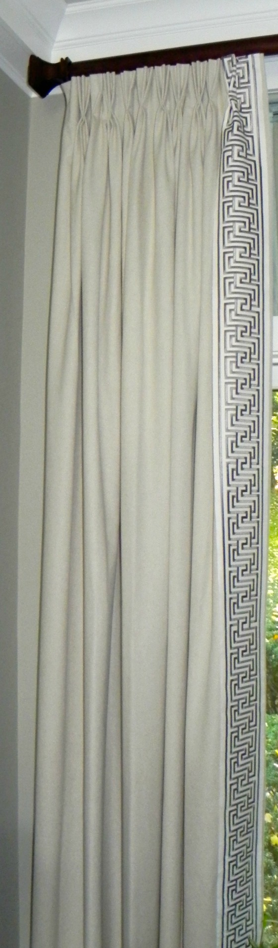 Trimmed drapery panel